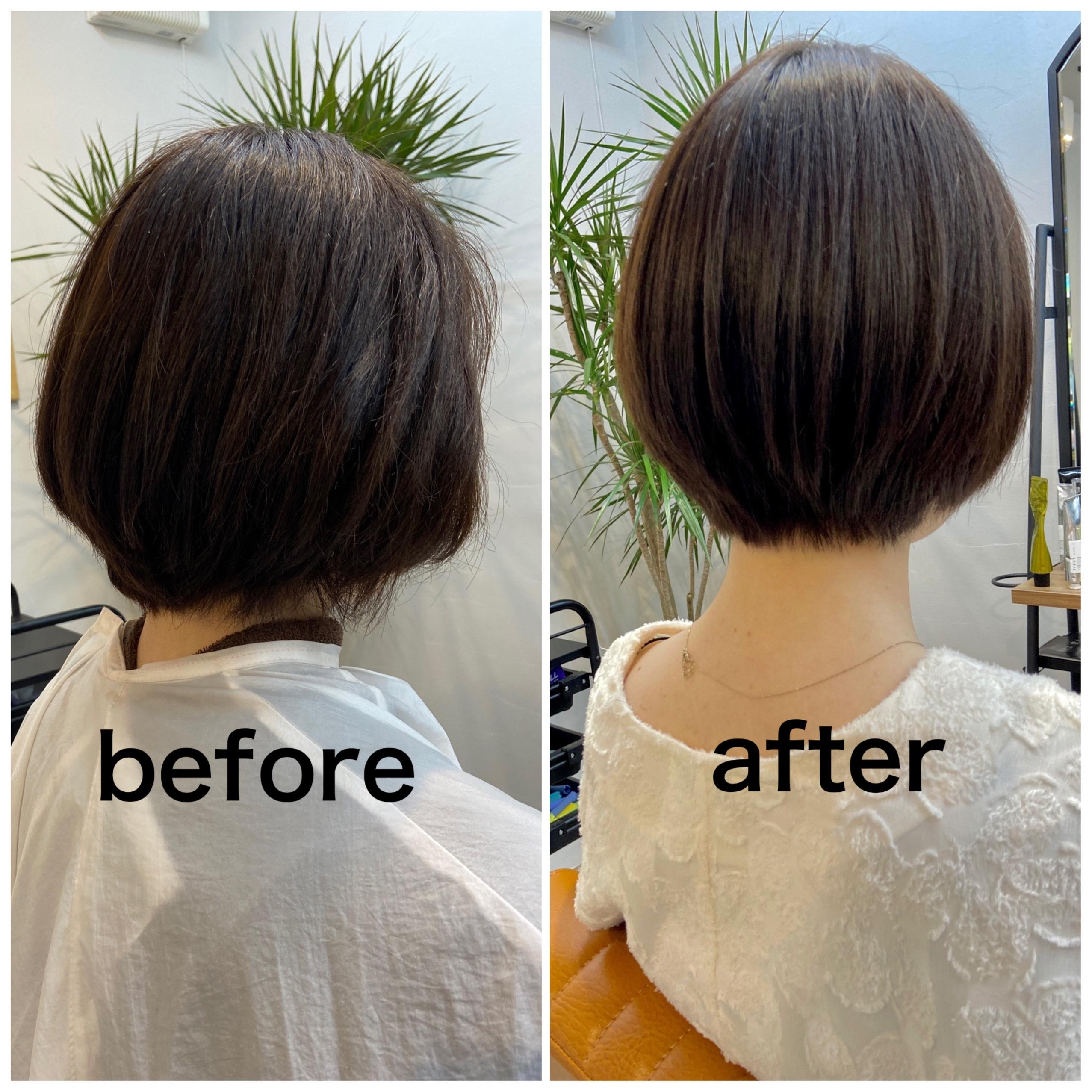 強いクセも1回でキレイに柔らかく伸ばしツヤサラな髪になる、手入れがしやすい褒められヘアをご提供。